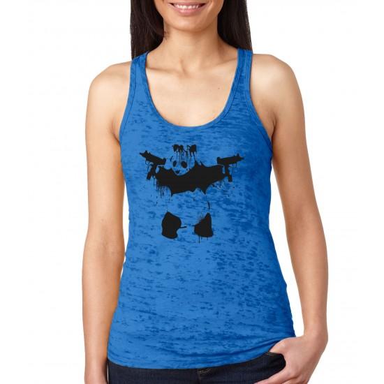 Banksy Panda With UZI's Womens Burnout Tank Top