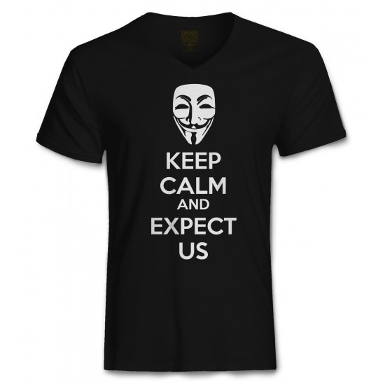 Anonymous Mask Keep Calm and Expect Us  Men's Tri-Blend V Neck
