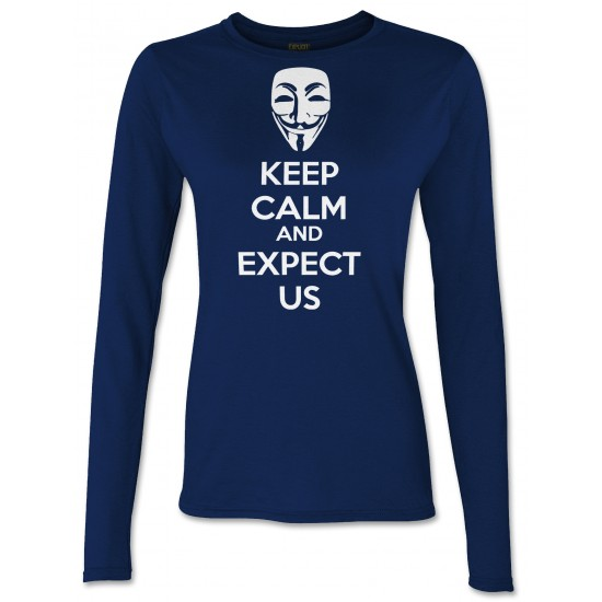 Anonymous Mask Keep Calm and Expect Us Juniors Long Sleeve T Shirt