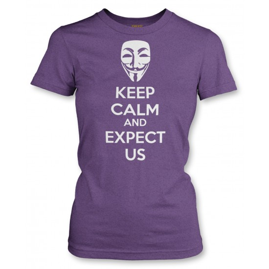 Anonymous Mask Keep Calm and Expect Us Juniors T Shirt
