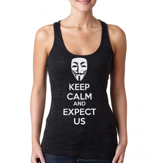 Anonymous Mask Keep Calm and Expect Us Burnout Tank Top