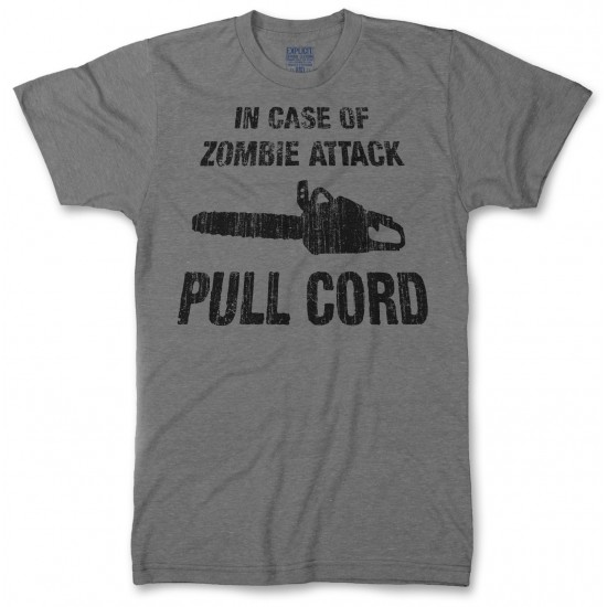 In Case of Zombie Attack Pull Cord Men's Tri-Blend T Shirt