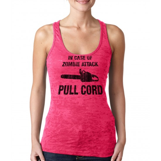 In Case of Zombie Attack Pull Cord Burnout Tank Top