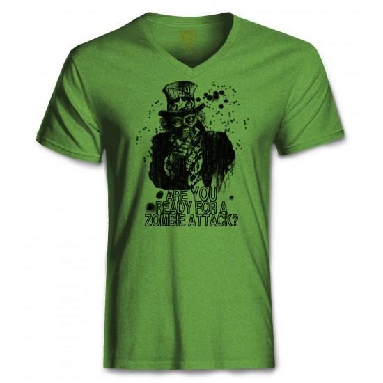 Zombie Uncle Sam Men's Tri-Blend V Neck