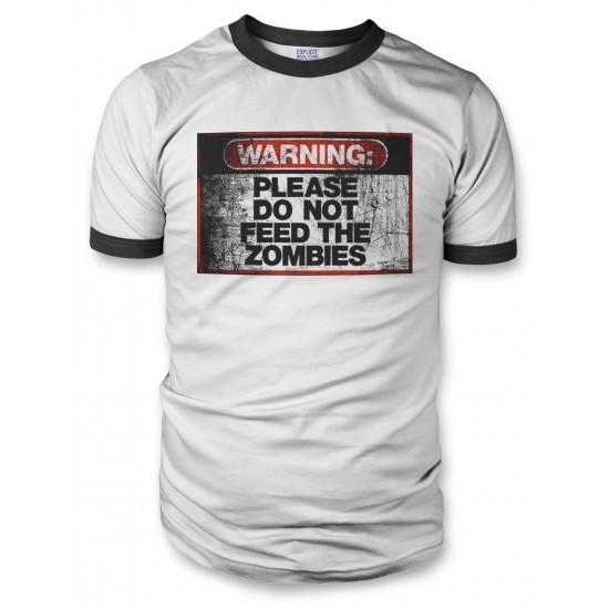 Warning Do Not Feed Zombie Men's Ringer T Shirt