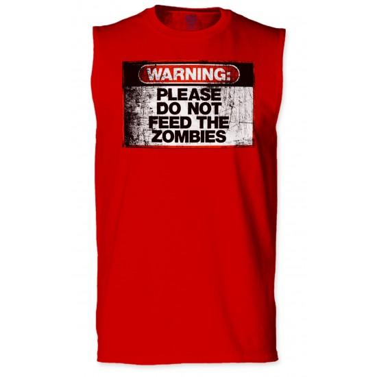 Warning Do Not Feed Zombie Sleeveless T-Shirt