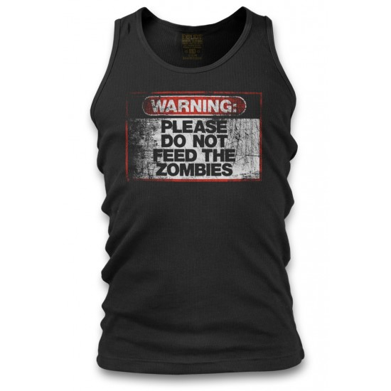Warning Do Not Feed Zombie Men's Tank Top