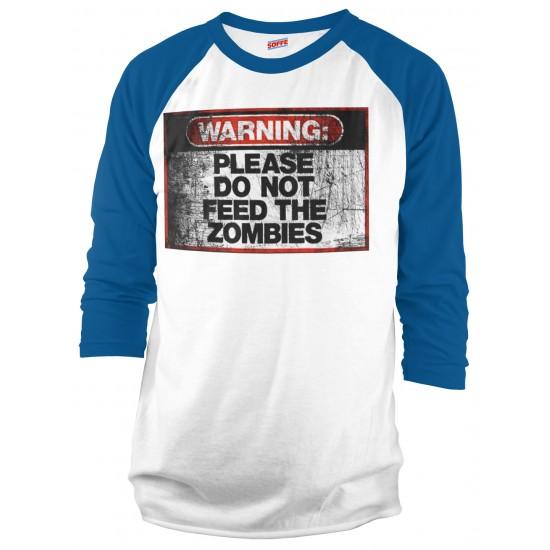 Warning Do Not Feed Zombie Raglan Shirt