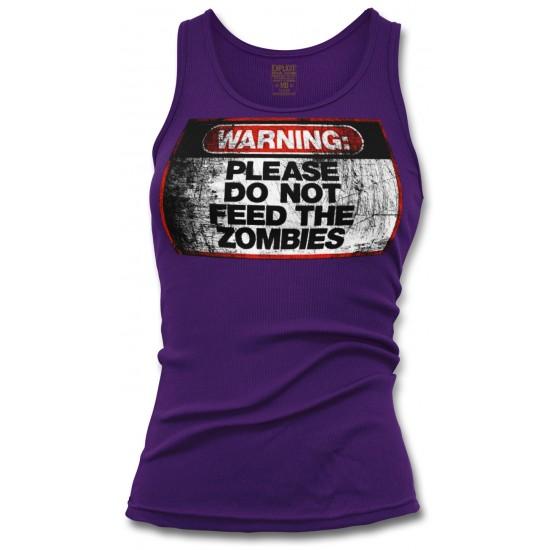 Warning Do Not Feed Zombie Women's Tank Top