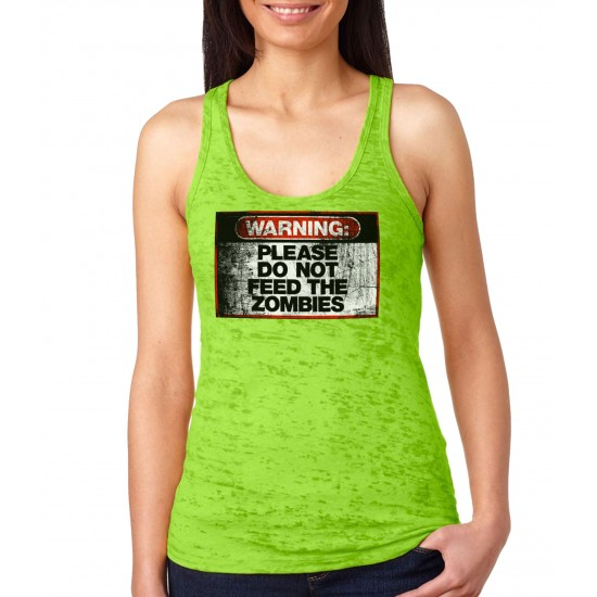 Warning Do Not Feed Zombie Burnout Tank Top