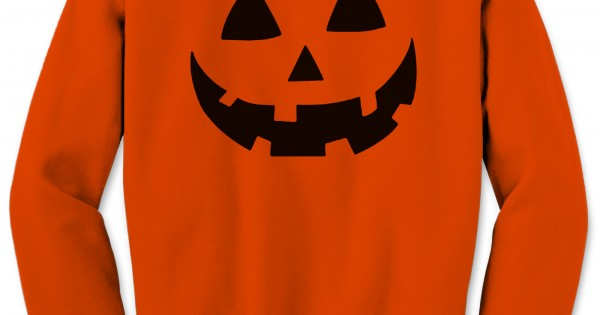 Orange Halloween Pumpkin Face Unisex Sweatshirt Costume