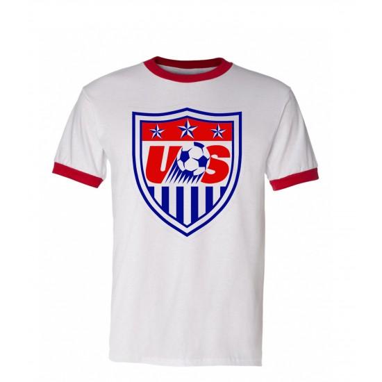 World Cup Soccer USA Men's Ringer T Shirt