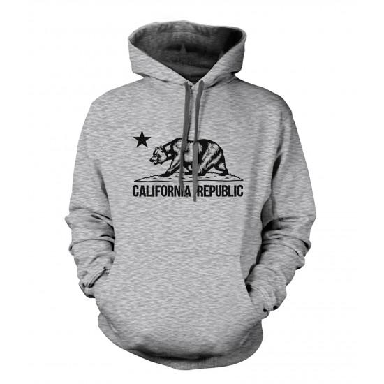 California Republic Bear Youth Hoodie - Black Print