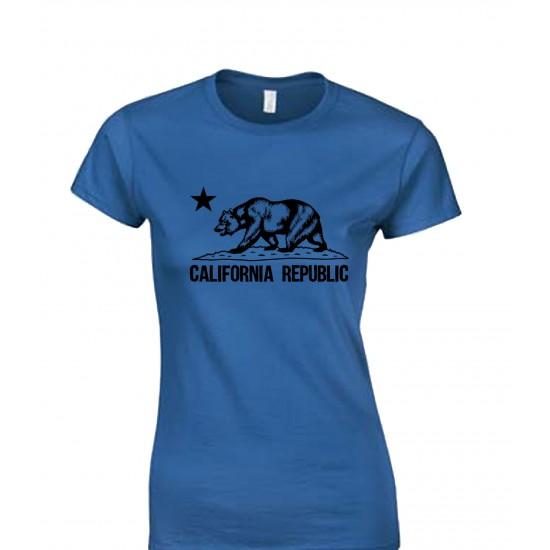California Republic Bear Juniors T Shirt Black Print