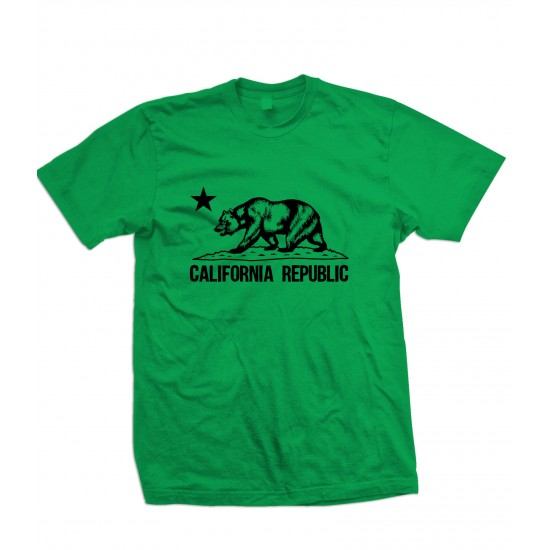 California Republic Bear T Shirt Black Print