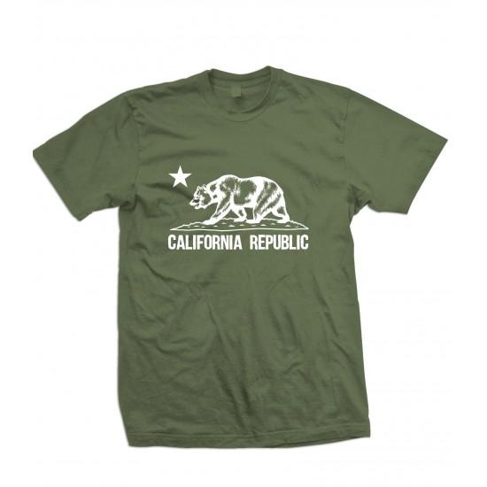 California Republic Bear T Shirt White Print