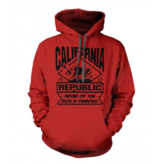 California Land of the Rich and Famous Youth Hoodie - Black Print