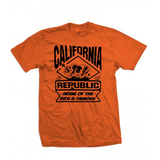 California Land Of The Rich & Famous T Shirt Black Print