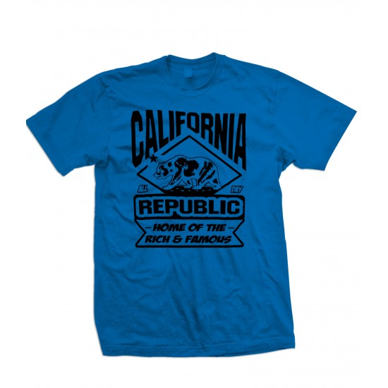 California Land of the Rich and Famous Youth T Shirt - Black Print