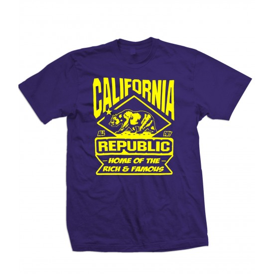 California Land Of The Rich & Famous T Shirt Yellow Print
