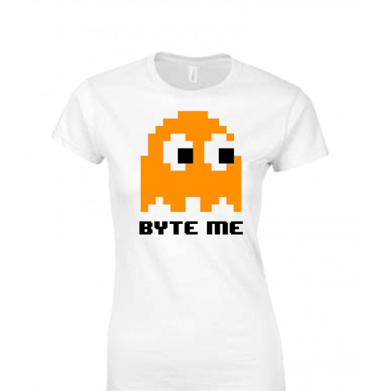 Byte Me Pacman Ghost Juniors T Shirt
