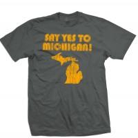 SAY YES TO MICHIGAN T-shirt white jack stripes vintage 70/'s detroit punk mc5 doa
