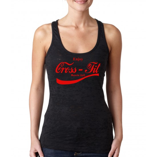 Muscle Up Coca Cola CrossFit Burnout Tank Top Red Print