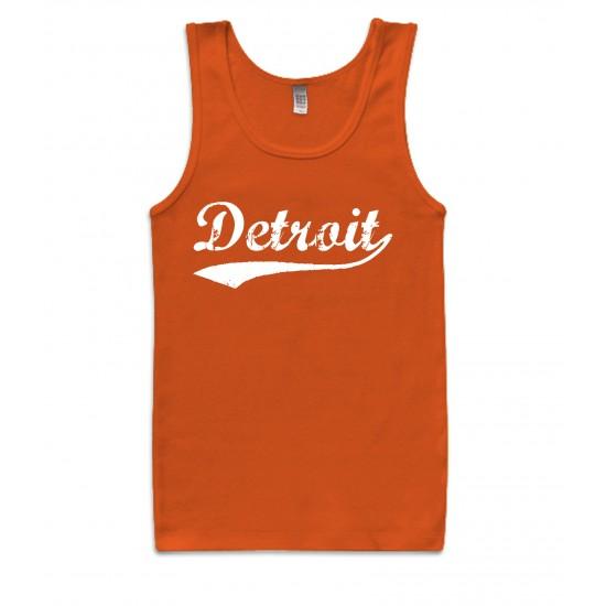 Detroit Retro White Print Womens Tank Top