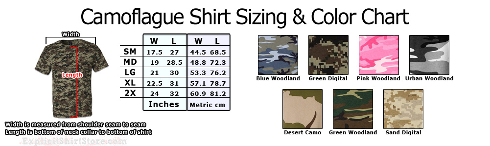 Camo / Camouflage Adult T Shirt Size Chart