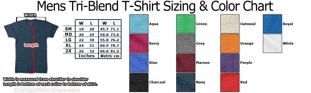 Mens Tri-Blend T-Shirt Size and Color Chart