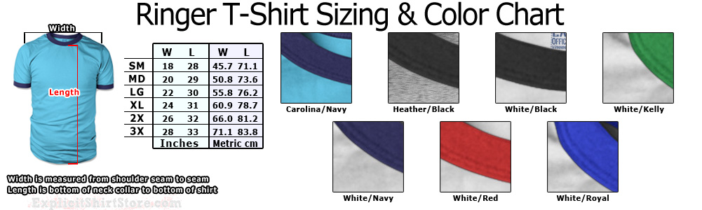 Mens and Womens Adult Ringer T Shirt Size Chart