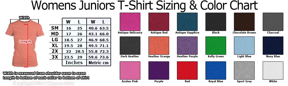 Womens and Girls Juniors Size Chart