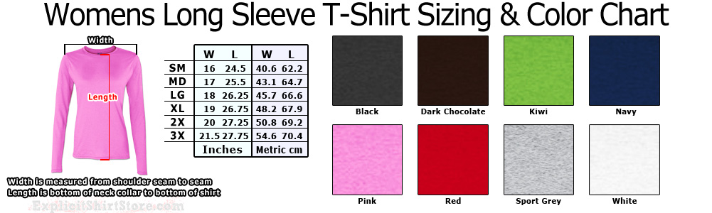 Womens and Girls Juniors Long Sleeve T Shirt Size Chart