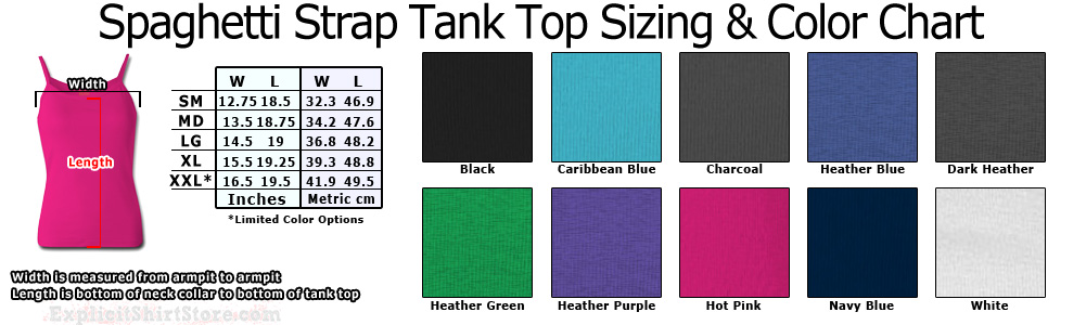 Womens Spaghetti Strap Tank Top Size & Color Chart