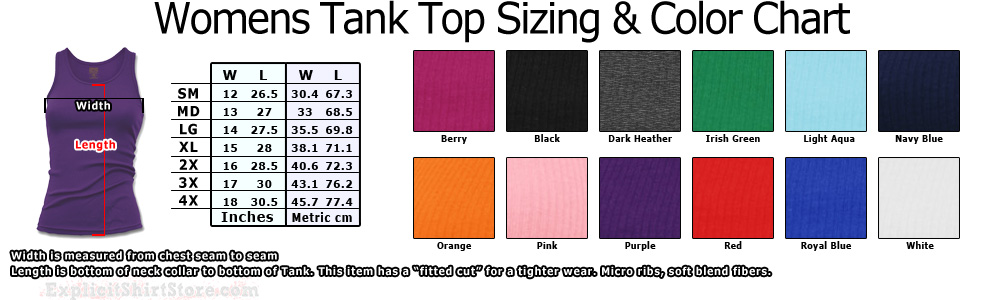 Womens and Girls Tank Top T Shirt Size Chart