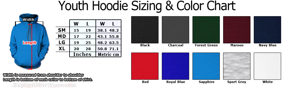 Youth Hooded Sweat Shirt Size Chart