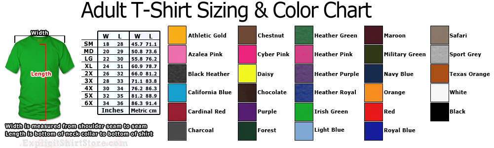 Mens and Womens Adult T Shirt Size Chart